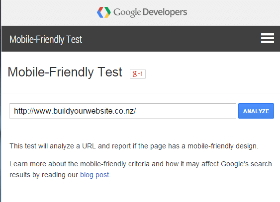 screenshot of entering the URL in google mobile testing tool
