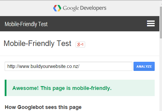 Mobile Responsive Web Design - screen shot of Google Mobile Friendly Testing tool