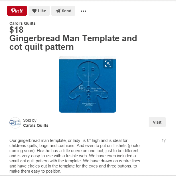 Ginger bread man template pinned on Pinterest showing price and description