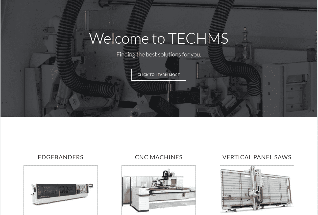 Screenshot of the Industrial Machinery Website for TechMS