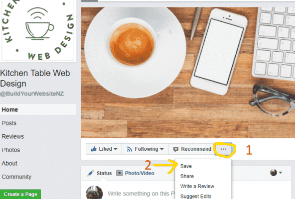 Screenshot showing the Facebook Save Button - Saving a page