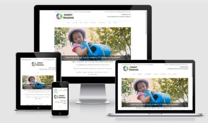Screenshot of Community Non Profit Preschool website across difference devices
