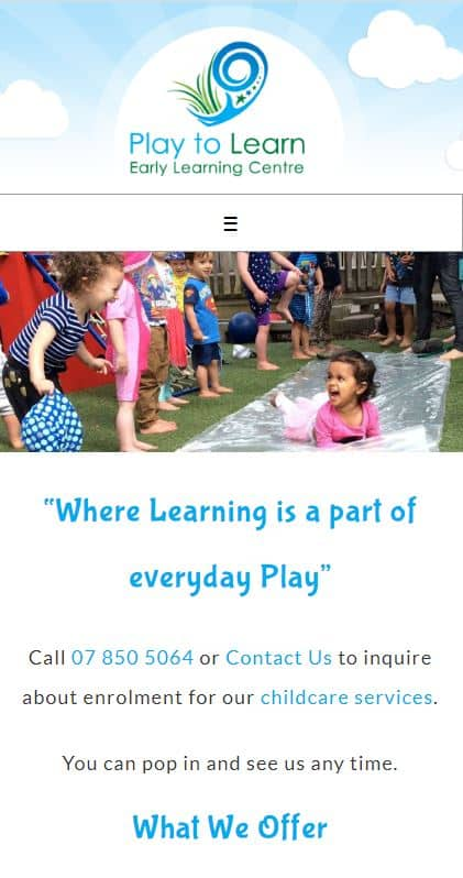 screenshot of responsive design for childcare centre website